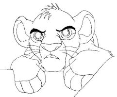 Simba lineart paint friendly by Cinders-Rose