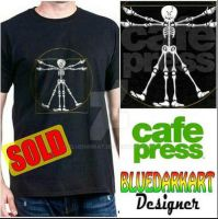 Fun vitruvian man skeleton Cartoon Tees by Bluedarkat