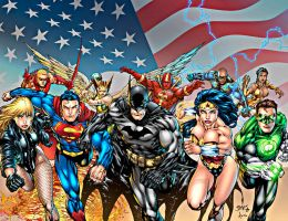 JLA by Ed Benes and may colors by dinei