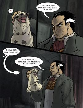 Boss meets a Pug by peachiekeenie
