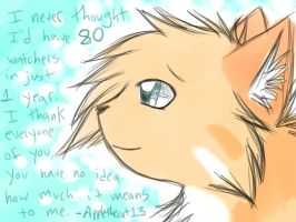 Thank you so much for 80 watchers! by Applethecat13