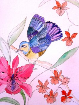 Tropical Bird And Orchids by GeaAusten