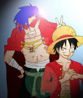 Luffy and Kamina by 420-MUGIWARA