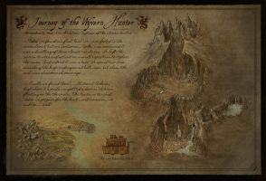 Fantasy Map - Journey of the Wyvern Hunter by Djekspek