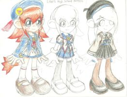 Lolo and the Bronze Pyramid High School Uniforms by peridive78