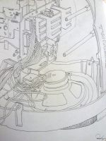 Micron contour drawing of a boom box by malibar1
