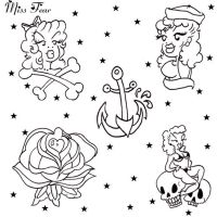 Black and White Tattoo Flash by after-the-funeral