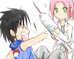 AT - chibi SasuSaku by Dark1408
