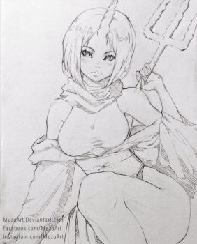 Elma Sketch! From Miss Kobayashi's Dragon Maid! by MuzuArt