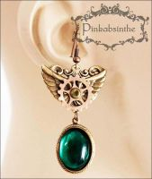 Winged emerald green long earrings by Pinkabsinthe