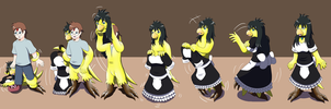 Comission: A Maid Hired!! (Anthro Chocobo TF TG) by Wolfeenix