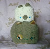 FOR SALE - Moss and Mint Kitty Loaf Pair by Pwyllo