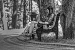Girl Reading in the Park BW by t-maker