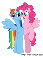 My little conjoined pony - Rainbow Dash and Pinkie by TRADT-PRODUCTION