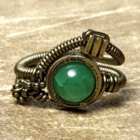 Green Steampunk Ring by CatherinetteRings