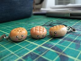 Melon Bread Phone Charms by Vinnie14