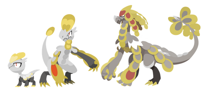 Pokemon Sun and Moon Jangmo-o Evolutions - Vectors by firedragonmatty
