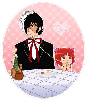 Black Jack and Pinoko: Lady and the Tramp style by hwshipper