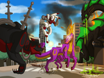 Space Horse Vs Galactic Beasts -commission- by LulzyRobot