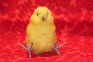 Needle Felted Baby Chicken by azu-55