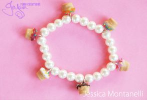 Cupcakes and Pearls - Bracelet by Jeyam-PClay