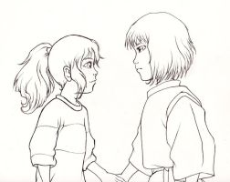 Spirited Away: Chihiro And Haku Line-art by kimberly-castello