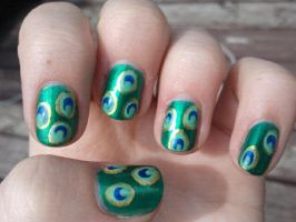 Peacock Feather Inspired Nails by TheNailFile