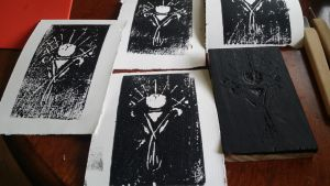 prototype wood block print: third eye by one-small-duck