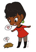 Nyota Uhura And Tribble by SpoDiddly