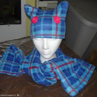 Plaid Neko Hat and Scarf by oddlittleleaf