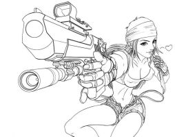 gun girl art line word by sinms