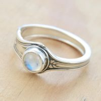 Spoon Ring w Little Moonstone by metalsmitten