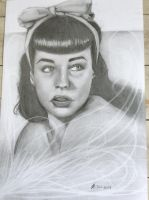 Bettie page pencil drawing by Jylm75