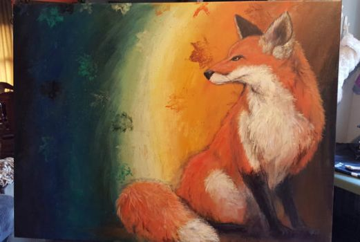 Fox painting Christmas present by drake22ice