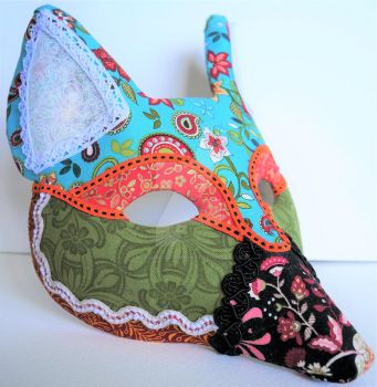 Patchwork Fennec Fox Mask by LucyinDisguiseMasks