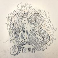 Dragon and Deer | Tattoo design by xZArtx