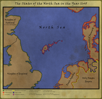 Map of the North Sea in 1648 by Rarayn