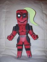 Lady Deadpool paper hero by SharkBomb