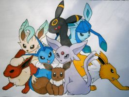 Eeveelution Playmat by daughterdragon