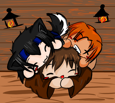 Dog Pile in the tavern by Satokit