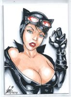 sexy catwoman sketch card aceo by HM1art