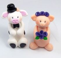 Bull and Pig Wedding Cake Topper by HeartshapedCreations