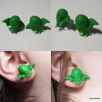 Cthulhu Stud Earrings by ChibiSilverWings