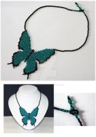 Butterfly Necklace - Aqua and Black by WhiteMagicPriestess
