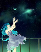 An airplane in the night sky by Tato-Commissions