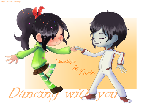 art request - Vanellope dancing with Turbo by summilly