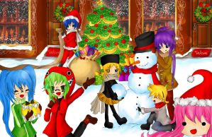 Merry X-mas Vocaloid Family 2011 by Hoshi-Wolfgang-Hime
