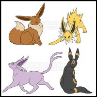 Eeveelutions by FlannMoriath