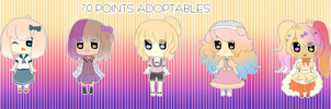 5 Chibi Girl Adoptables [OPEN] [2 Left!!!!] by Yushikuni