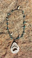 Carved Antler Bear Paw print Necklace by Minotaur-Queen